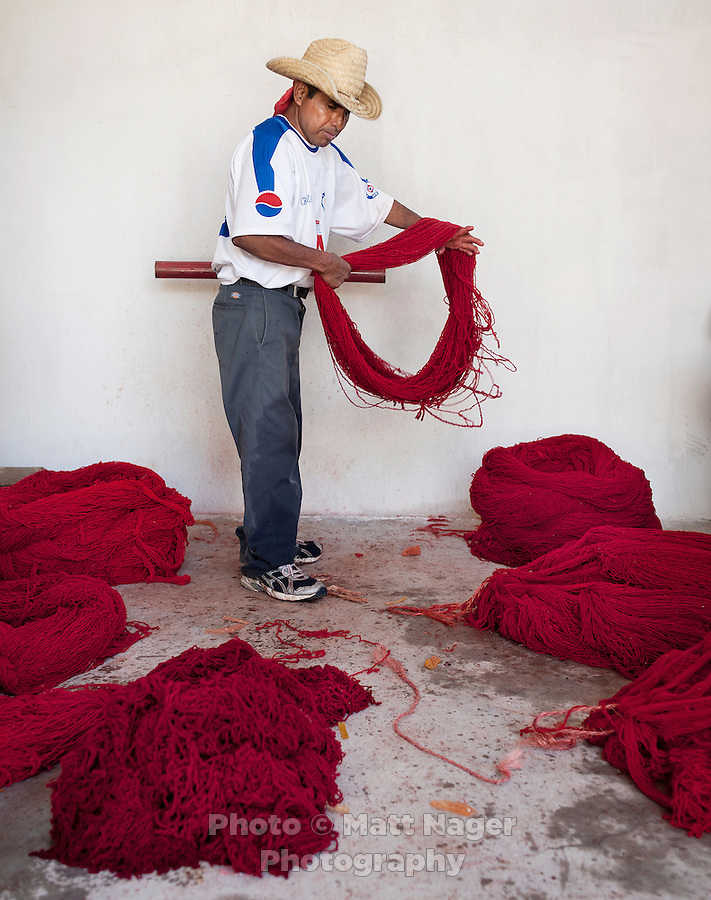 Antonio Chavez Vasquez (cq) dyes and washed wool for use in rugs at Manos Que Tejen, a rug dealer, in Teotitlán del Valle, Oaxaca, in Mexico, Saturday, April 7, 2012. Manos Que Tejen exports to the United States and uses artificial colors...Photo by Matt Nager
