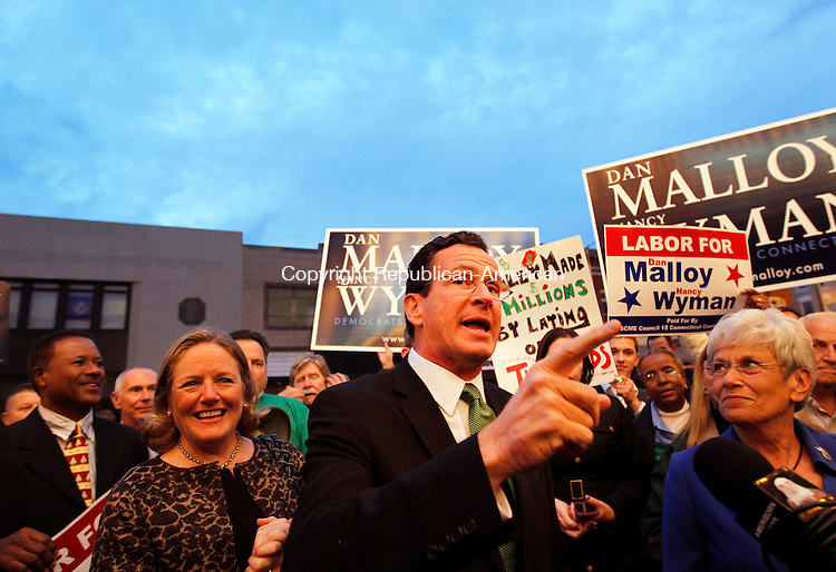 Torrington, CT- 25, October 2010-102510CM04 Democratic Governor candidate Dan Malloy, fires up supporters in downtown Torrington Monday night before a gubernatorial debate against Republican challenger, Tom Foley.   Christopher Massa Republican-American