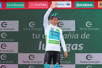 Miguel Angel Lopez Moreno (COL) Astana Pro Team takes over the race leaders Red Jersey and also retains the young riders White Jersey at the end of Stage 5 of La Vuelta 2019 running 170.7km from L'Eliana to Observatorio Astrofisico de Javalambre, Spain. 28th August 2019.<br /> Picture: Luis Angel Gomez/Photogomezsport | Cyclefile<br /> <br /> All photos usage must carry mandatory copyright credit (© Cyclefile | Luis Angel Gomez/Photogomezsport)