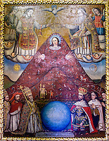 In this painting in the Museo & Convento de Santa Teresa, in Potosi, Bolivia, the Virgin Mary is represented as a form of Pachamama - Mother Earth, to Andean peoples - and depicted in a likeness of Cerro Rico, where the richest silver mines in the world were once found.