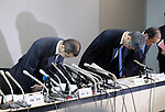 June 26, 2017, Tokyo, Japan - Japan's automobile parts maker Takata president Shigehisa Takata (L) bows his head as he announces the company's bankruptcy at a press conference in Tokyo on Monday, June 26, 2017. Takata filed for bankruptcy protection, Japan's largest failure of manufacturing sector, to Tokyo district court as a global recall of the company's automotive air bags.   (Photo by Yoshio Tsunoda/AFLO) LwX -ytd-