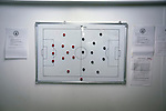 An view of the home dressing room tactics board at the Commonwealth Stadium at Meadowbank before the Scottish Lowland League match between Edinburgh City and city rivals Spartans, which was won by the hosts by 2-0. Edinburgh City were the 2014-15 league champions and progressed to a play-off to decide whether there would be a club promoted to the Scottish League for the first time in its history. The Commonwealth Stadium hosted Scottish League matches between 1974-95 when Meadowbank Thistle played there.