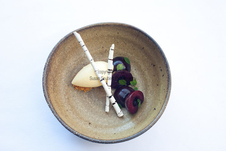 cherries, almond ice cream and birch