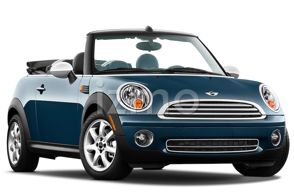 Low aggressive passenger side front three quarter view of a 2010 Mini Cooper Convertible.