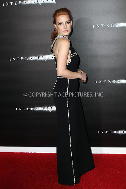 ACEPIXS.COM<br /> <br /> November 3 2014, New York City<br /> <br /> Jessica Chastain arrives at the 'Interstellar' New York premiere at AMC Lincoln Square Theater on November 3, 2014 in New York City. <br /> <br /> By Line: Nancy Rivera/ACE Pictures<br /> <br /> ACE Pictures, Inc.<br /> www.acepixs.com<br /> Email: info@acepixs.com<br /> Tel: 646 769 0430