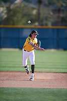 Brett Barrera (4) of Los Osos High School in Etiwanda, California during the Baseball Factory All-America Pre-Season Tournament, powered by Under Armour, on January 13, 2018 at Sloan Park Complex in Mesa, Arizona.  (Mike Janes/Four Seam Images)