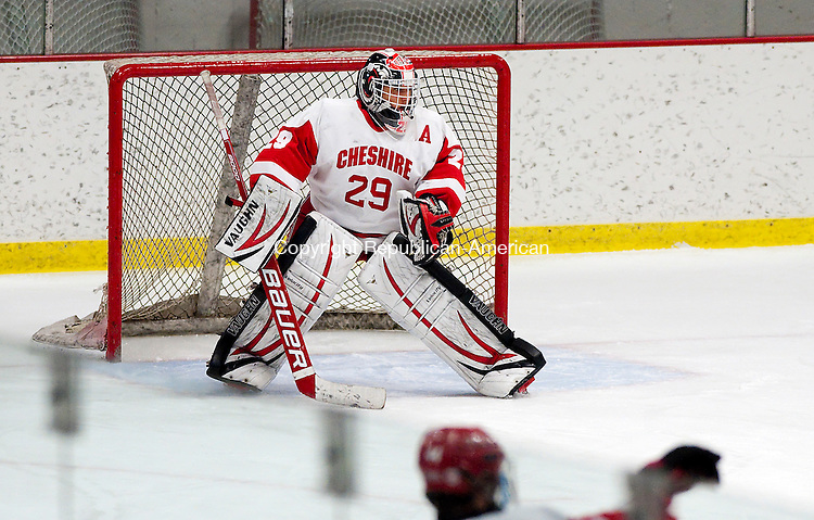 MIDDLETOWN, CT--- -010616JS03--  Cheshire's goalie Jake Verneris (29) in the net for their game against Watertown-Pomperaug Wednesday at the Spurrier-Snyder Rink on the Wesleyan University campus in Middletown. <br /> Jim Shannon Republican-American