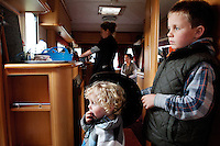 2/10/2010. Travelers Connie 9 and Mike O Donoghue 2 from Limerick are pictured in their caravan at the Ballinasloe Horse Fair, Ballinasloe County Galway, Ireland. Picture James Horan