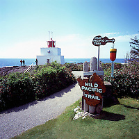 Amphitrite Point Lighthouse and Wild Pacific Trail near Ucluelet, BC, on West Coast of Vancouver Island, British Columbia, Canada