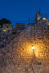 The city wall on the south side of the Old City of Jerusalem, near the Zion Gate. The Old City of Jerusalem and its Walls is a UNESCO World Heritage Site.