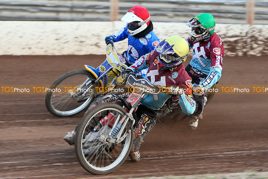 Heat 8: Tobi Kroner (red), Kauko Nieminen (green) and Stuart Robson (yellow) - Ipswich Witches vs Lakeside Hammers - Sky Sports Elite League Speedway at Foxhall Stadium, Ipswich, Suffolk - 25/06/09- MANDATORY CREDIT: Gavin Ellis/TGSPHOTO - Self billing applies where appropriate - 0845 094 6026 - contact@tgsphoto.co.uk - NO UNPAID USE.