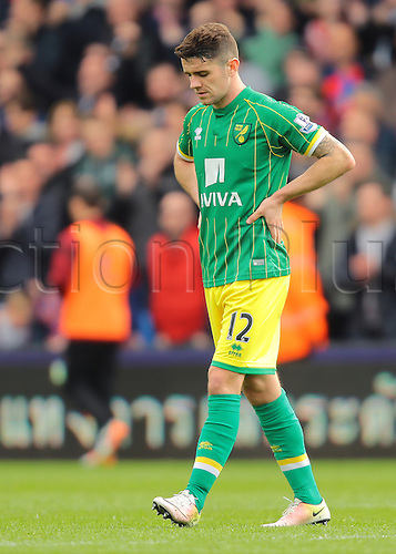 09.04.2016. Selhurst Park, London, England. Barclays Premier League. Crystal Palace versus Norwich. Norwich City Midfielder Robbie Brady looks to the floor in dejection at full time, 1-0 Crystal Palace