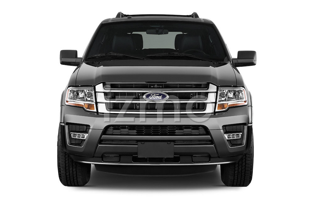 Car photography straight front view of a 2015 Ford Expedition XLT 5 Door SUV Front View