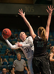 Idaho's Geraldine McCorkell shoots over Portland State's Courtney West in a women's Big Sky Tournament semi-final game held at the Reno Events Center on Friday, March 9, 2018 in Reno, Nevada.