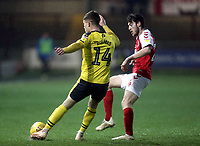 Oxford United's Josh Ruffels under pressure from Fleetwood Town's Ashley Nadesan<br /> <br /> Photographer Rich Linley/CameraSport<br /> <br /> The EFL Sky Bet League One - Fleetwood Town v Oxford United - Saturday 12th January 2019 - Highbury Stadium - Fleetwood<br /> <br /> World Copyright &copy; 2019 CameraSport. All rights reserved. 43 Linden Ave. Countesthorpe. Leicester. England. LE8 5PG - Tel: +44 (0) 116 277 4147 - admin@camerasport.com - www.camerasport.com