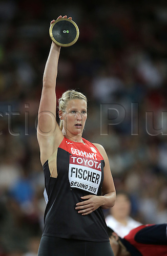 25.08.2015. Beijing, China.  Julia Fischer ofGermany in action during the women's Discus Throw final of the Beijing 2015 IAAF World Championships at the National Stadium, also known as Bird's Nest, in Beijing, China, 25 August 2015.