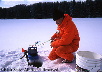 Ice fishing, Hills Creek State Park, Tioga County, PA