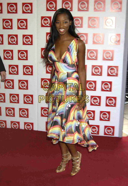 JAMELIA.Q Magazine Awards, Grosvenor House Hotel, London, .October 4th 2004.                           .full length multi-coloured patterned dress strappy sandals shoes.Ref: PL.www.capitalpictures.com.sales@capitalpictures.com.©Phil Loftus/Capital Pictures .