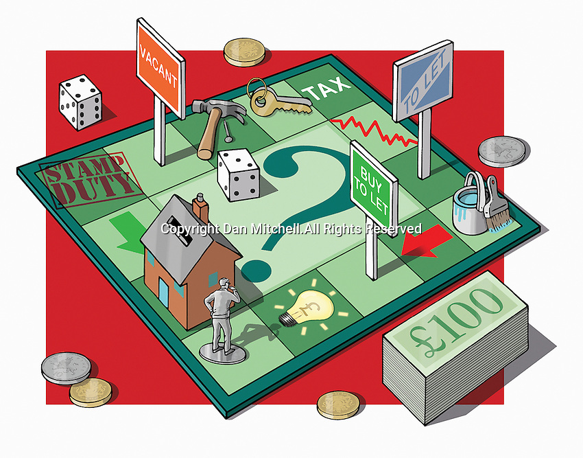 Man on money and real estate game board