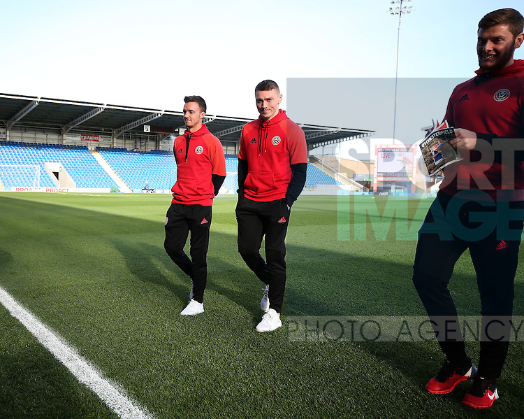 Stefan Scougall and Caolan Lavery of Sheffield Utd during the English League One match at the Proact Stadium, Chesterfield. Picture date: November 13th, 2016. Pic Simon Bellis/Sportimage