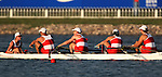 Canada's mixed coxed four pull for the finish line to place second in their heat in rowing action at the Paralympic Games in Beijing, Wednesday, Sept., 10, 2008. From left, Laurie Comeau of Saint Caherines, Ont., Scott Rand of Calgary, Anthony Theriault of Victoria, Victoria Nolan of Toronto and Meghan Montgomery of Victoria. <br /> Photo by Mike Ridewood/CPC