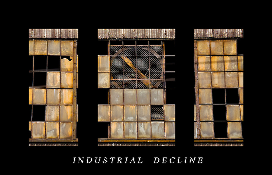 Industrial textures and abstracts - Industrial Decline, large Triptych
