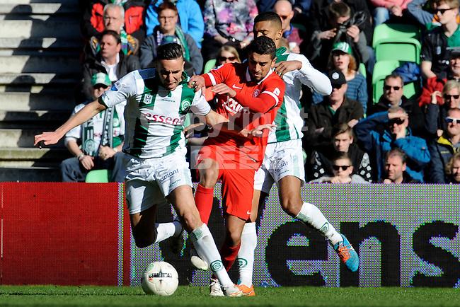 GRONINGEN - Voetbal, FC Groningen - FC Twente, Eredivisie, Euroborg, seizoen 2014-2015, 22-03-2015, FC Groningen speler Albert Rusnak met FC Twente speler Youness Mokhtar