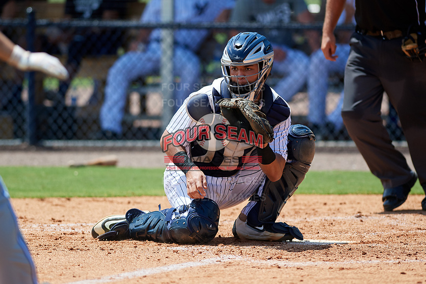 GCL Yankees East catcher Pedro Diaz (55) waits to receive a throw during a game against the GCL Blue Jays on August 2, 2018 at Yankee Complex in Tampa, Florida.  GCL Yankees East defeated GCL Blue Jays 5-4.  (Mike Janes/Four Seam Images)