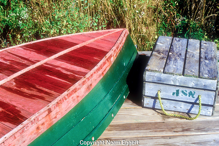 Overturned dinghy in New harbor, Maine