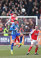 Fleetwood Town's Harry Souttar wins a header against Blackpool's Gary Madine<br /> <br /> Photographer Lee Parker/CameraSport<br /> <br /> The EFL Sky Bet League One - Fleetwood Town v Blackpool - Saturday 7th March 2020 - Highbury Stadium - Fleetwood<br /> <br /> World Copyright © 2020 CameraSport. All rights reserved. 43 Linden Ave. Countesthorpe. Leicester. England. LE8 5PG - Tel: +44 (0) 116 277 4147 - admin@camerasport.com - www.camerasport.com