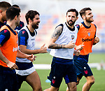 UD Levante's Jorge Coke Andujar and Jose Luis Morales during training session. May 28,2020.(ALTERPHOTOS/UD Levante/Pool)