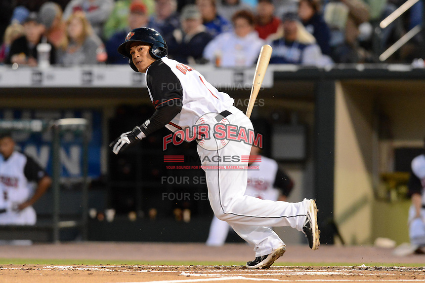 Rochester Red Wings third baseman Ray Olmedo (1) infield single during an International League playoff game against the Pawtucket Red Sox on September 5, 2013 at Frontier Field in Rochester, New York.  Pawtucket defeated Rochester 7-2.  (Mike Janes/Four Seam Images)