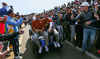 Sergio Garcia (Team Europe) & Rory McIlroy (Team Europe) leaving the 17th during Saturday's Fourballs, at the Ryder Cup, Le Golf National, Île-de-France, France. 29/09/2018.<br /> Picture David Lloyd / Golffile.ie<br /> <br /> All photo usage must carry mandatory copyright credit (© Golffile | David Lloyd)