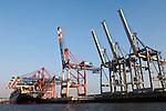 Hamburg-Germany - May 04, 2013 -- Port of Hamburg / harbour at the river Elbe: container cranes at EUROGATE Container Terminal (HHLA, Hamburger Hafen und Logistik Aktiengesellschaft), Infrastructure -- Photo: © HorstWagner.eu