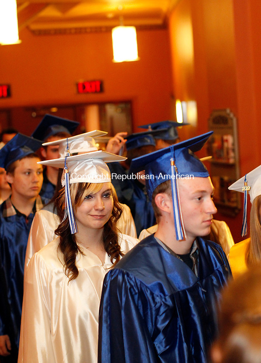 Torrington, CT-13 June 2012-061312CM07-  Lewis Mills graduates walk into the Warner Theatre during commencement ceremonies Wednesday night in Torrington.  The school celebrated it's 50th graduating class from school, one that was largest ever with 230 graduates.   Christopher Massa Republican-American