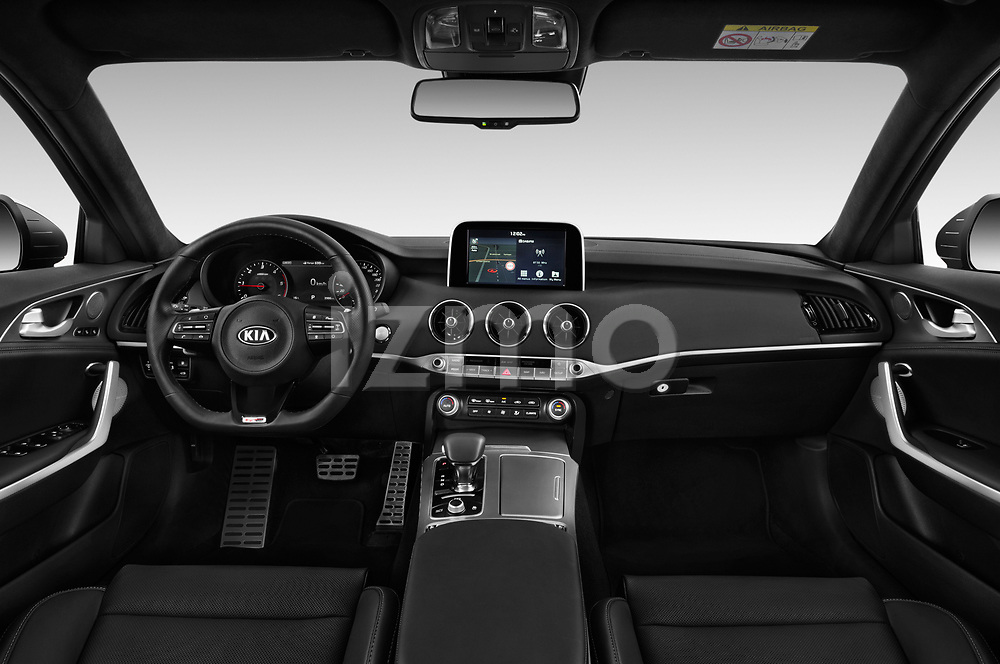 Stock photo of straight dashboard view of a 2018 KIA Stinger GT-Line 5 Door Hatchback