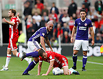 Samir Carruthers of Sheffield Utd tackles \mduring the Championship match at the Riverside Stadium, Middlesbrough. Picture date: August 12th 2017. Picture credit should read: Simon Bellis/Sportimage
