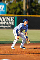 Burlington Royals third baseman Bhret Bewley (15) in the field during a game against the Kingsport Mets at Burlington Athletic Complex on July 28, 2018 in Burlington, North Carolina. Burlington defeated Kingsport 4-3. (Robert Gurganus/Four Seam Images)