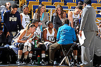 25 November 2011:  FIU's team listens to Head Coach Cindy Russo during a time out as the University of Maryland Terrapins defeated the FIU Golden Panthers, 84-52, at the U.S. Century Bank Arena in Miami, Florida.