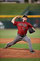 AZL D-backs relief pitcher Ryan Atkinson (36) pitches during a rehab assignment in an Arizona League game against the AZL Cubs 1 on July 25, 2019 at Sloan Park in Mesa, Arizona. The AZL D-backs defeated the AZL Cubs 1 3-2. (Zachary Lucy/Four Seam Images)