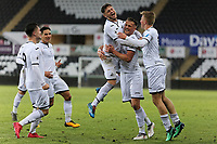 Pictured: Joe Lewis of Swansea celebrates his goal with team mates. Tuesday 01 May 2018<br /> Re: Swansea U19 v Cardiff U19 FAW Youth Cup Final at the Liberty Stadium, Swansea, Wales, UK