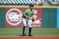 Gwinnett Braves shortstop Luis Marte (9) on defense against the Charlotte Knights at BB&T BallPark on July 14, 2019 in Charlotte, North Carolina.  The Stripers defeated the Knights 5-4. (Brian Westerholt/Four Seam Images)