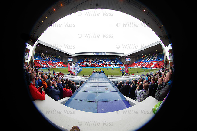 Rangers fans display and the foot of the photographer on a fisheye lens.