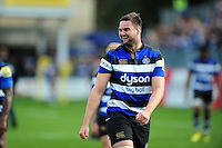 Elliott Stooke of Bath Rugby is all smiles after the match. Aviva Premiership match, between Bath Rugby and Newcastle Falcons on September 10, 2016 at the Recreation Ground in Bath, England. Photo by: Patrick Khachfe / Onside Images