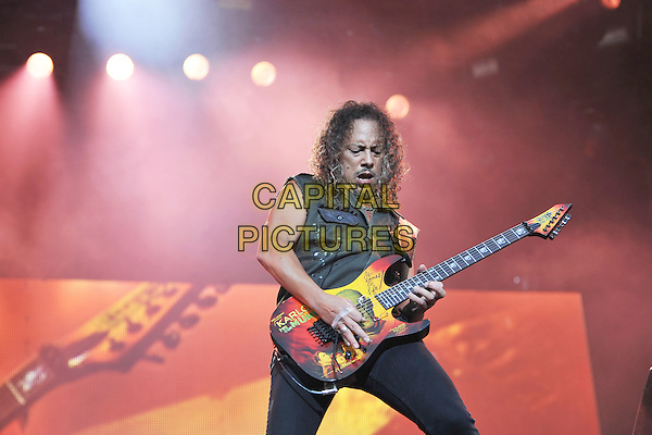 Kirk Hammett of Metallica .Performing live during Day 1 of Sonisphere festival, Knebworth House, England, UK, 8th July 2011..music live on stage gig concert half length black sleeveless shirt guitar playing .CAP/MAR.© Martin Harris/Capital Pictures.