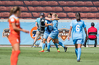 Houston, TX - Saturday May 13, Sky Blue FC forward Leah Galton (21) celebrates her goal with Sky Blue FC forward Samantha Kerr (20) during a regular season National Women's Soccer League (NWSL) match between the Houston Dash and Sky Blue FC at BBVA Compass Stadium. Sky Blue won the game 3-1.