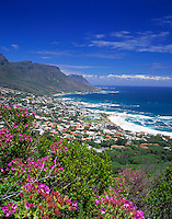"South Africa, Cape Town, view from Lion's Head Trail at Camps Bay and ""12 Apostle"" Mountains"