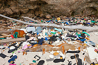 marine debris also known as marine litter, plastic waste washed up at shore, Christmas Island, Australia, South Pacific Ocean