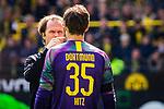 11.05.2019, Signal Iduna Park, Dortmund, GER, 1.FBL, Borussia Dortmund vs Fortuna Düsseldorf, DFL REGULATIONS PROHIBIT ANY USE OF PHOTOGRAPHS AS IMAGE SEQUENCES AND/OR QUASI-VIDEO<br /> <br /> im Bild | picture shows:<br /> nach einem Zusammenprall mit Dodi Lukebakio (Fortuna #20) muss Marwin Hitz (Borussia Dortmund #35) lange behandelt werden, <br /> <br /> Foto © nordphoto / Rauch