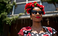 ELMONT, NY - JUNE 10: A woman wears a hat of roses on Belmont Stakes Day at Belmont Park on June 10, 2017 in Elmont, New York (Photo by Scott Serio/Eclipse Sportswire/Getty Images)
